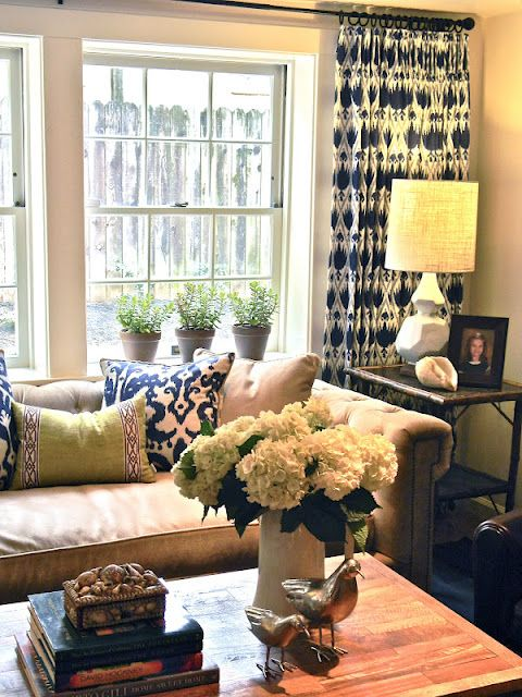 : Living Rooms, Decor Ideas, Navy Fabrics, Window, Color, Patterns Curtains, Wood Tables, Navy Accent, Families Rooms
