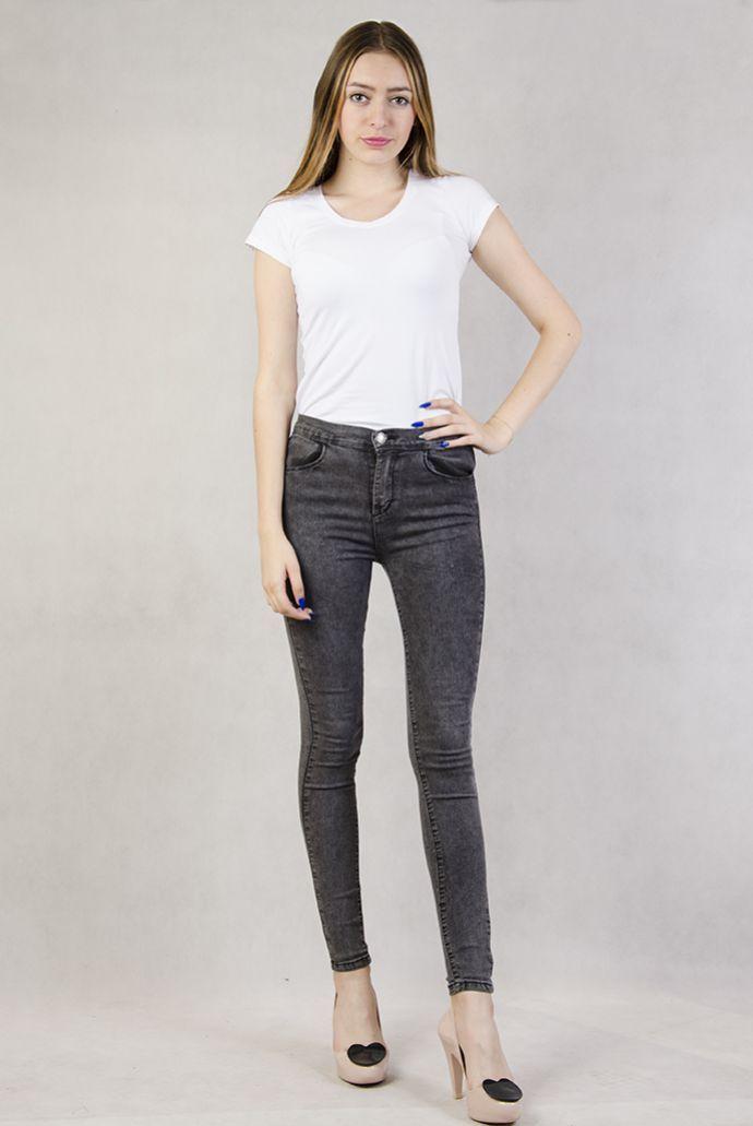 Szare marmurkowe spodnie rurki
