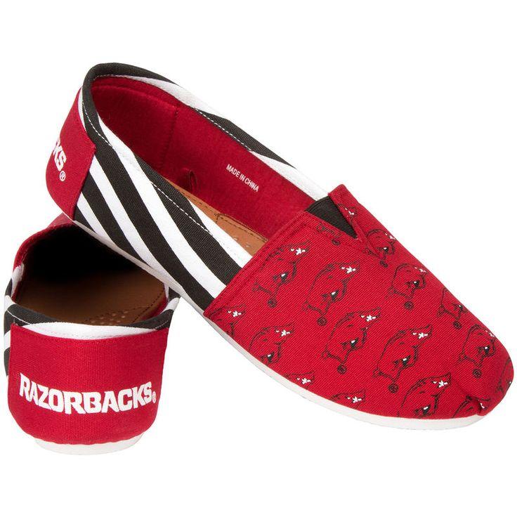 Arkansas Razorbacks Women's Canvas Stripe Shoes