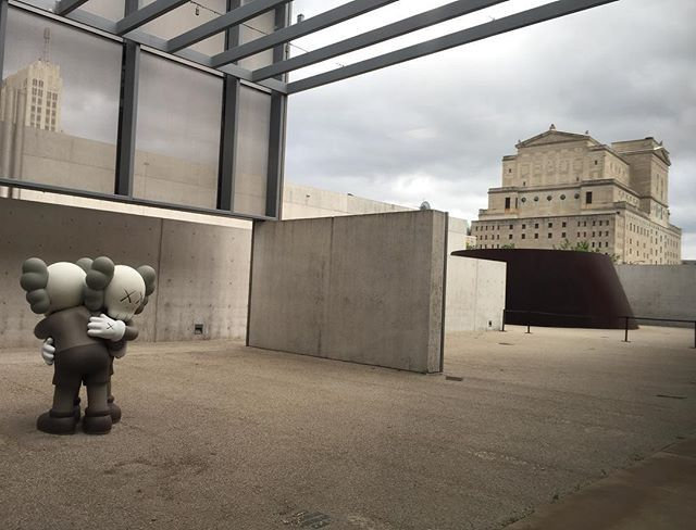 """Good morning.. A small bronze """"TOGETHER"""" taking in the chilly weather at @camstl  #KAWS #FARFARDOWN opening May 5th #stlouis"""
