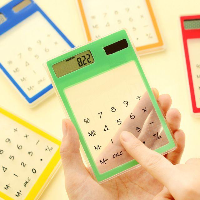 Ultra Slim Mini Movido A Energia Solar Calculadora da Tela de Toque LCD de 8 Dígitos Calculadora Transparente # R179T Shipping # queda