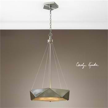 Tesoro 3 #Light Pendant. Soft contemporary in feel this five sided pentagon shape is unique and unusual for a pendant. Distressed antique nickel finish is intensified with a champagne mica diffuser. #LightsandLamps #HomeDecor #accentfurniture #ArtFurniture #CarolynKinder