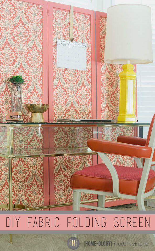 diy fabric folding screen | {Home-ology} modern vintage