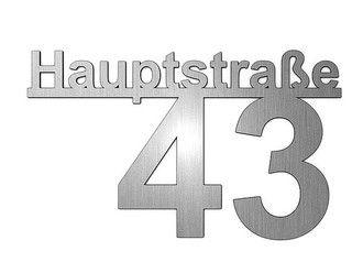 Edelstahl Hausnummer mit Straßenname - Design Minimal Art (Typ 5) | bis 11…