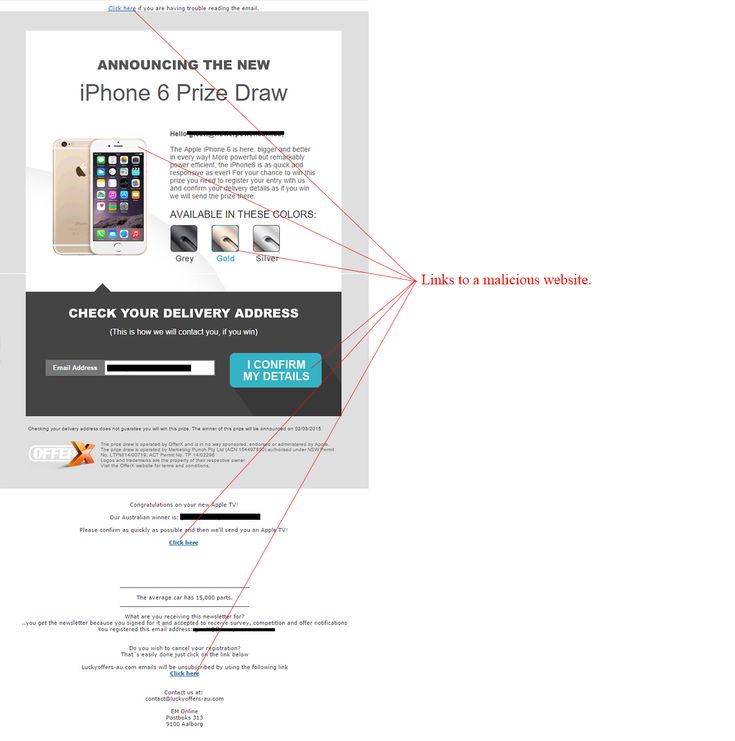 Unclaimed Apple iPhone 6 Scam - http://www.mailshark.com.au/recent-security-news/unclaimed-apple-iphone-6-scam-24245