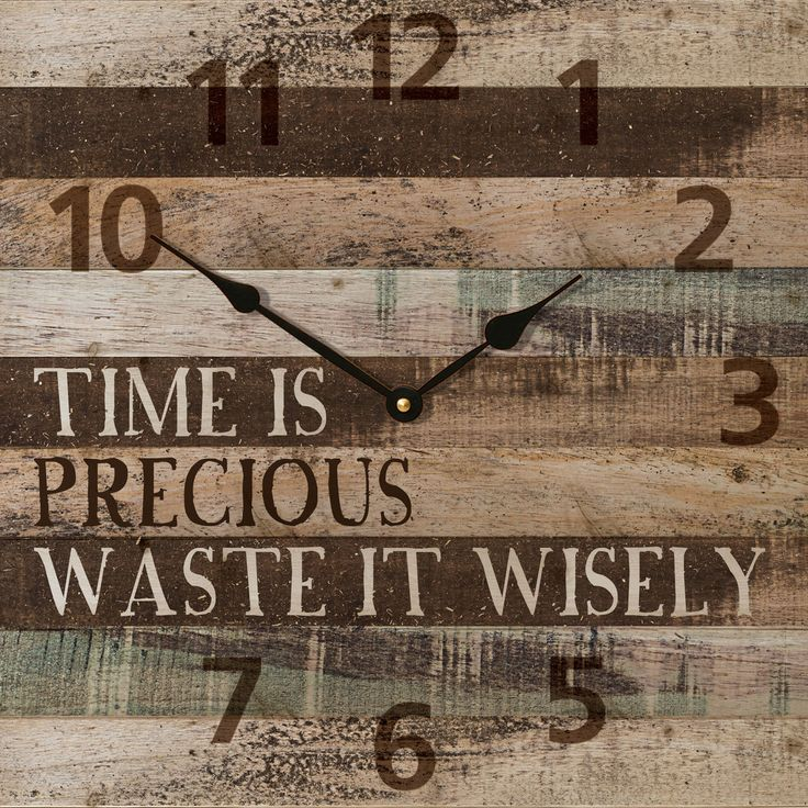 The beautiful rustic wall clock is handcrafted here in the USA and made of wood with the image of pallet board printed on the wood along with the saying: Time Is Precious… Waste It Wisely. This clock