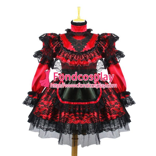 Free Shipping Sexy Sissy Maid Dress Uniform Lockable Dress Cosplay Costume Custom-made