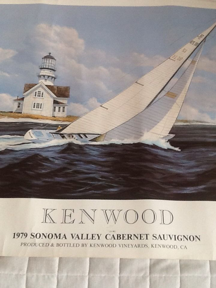 """Kenwood Winery, 1979 Sonoma Valley Cabernet Sauvignon,Artist series label poster, 30""""x25"""", framed in polished bronze."""