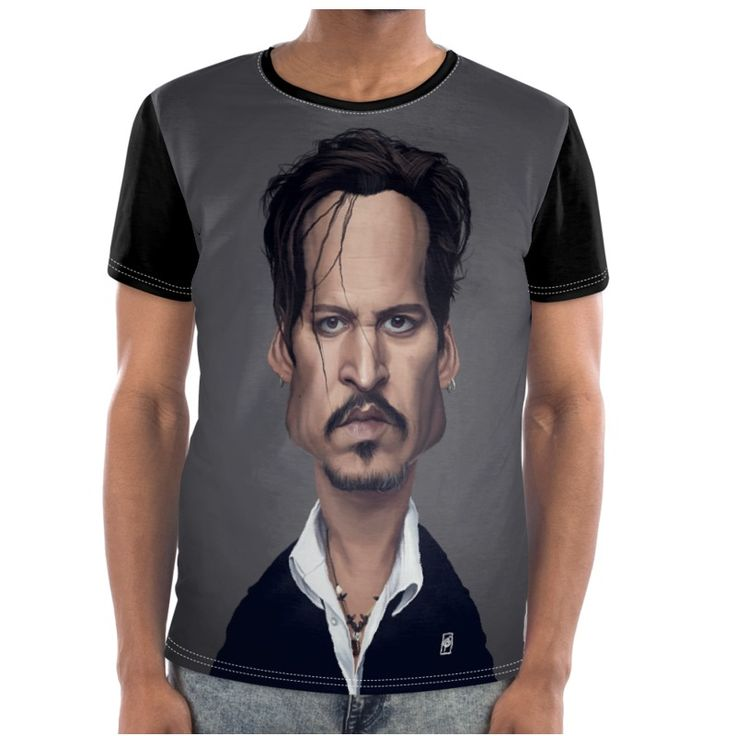 Johnny Depp Celebrity Caricature Cut and Sew T Shirt art | decor | wall art | inspiration | caricature | home decor | idea | humor | gifts
