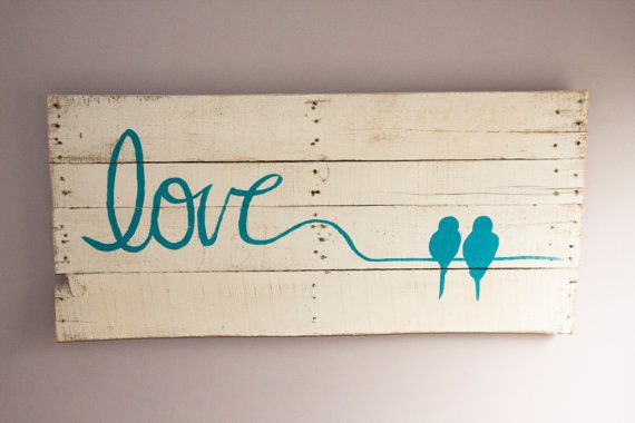 Reclaimed Wood Wall Art Love Birds By Loveinspirations On