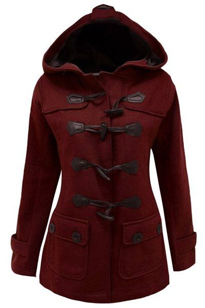 Chic Hooded Long Sleeve Button Design Coat For Women