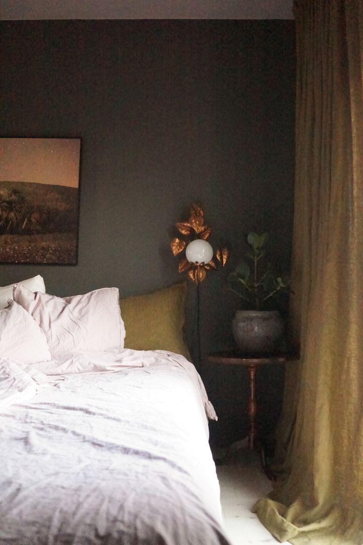 Isabelle McAllister, bedroom, green wall, green room, green paint, himla, wonderwall, palm photo, ochre, flower lamp, leaves lamp, bedroom plant