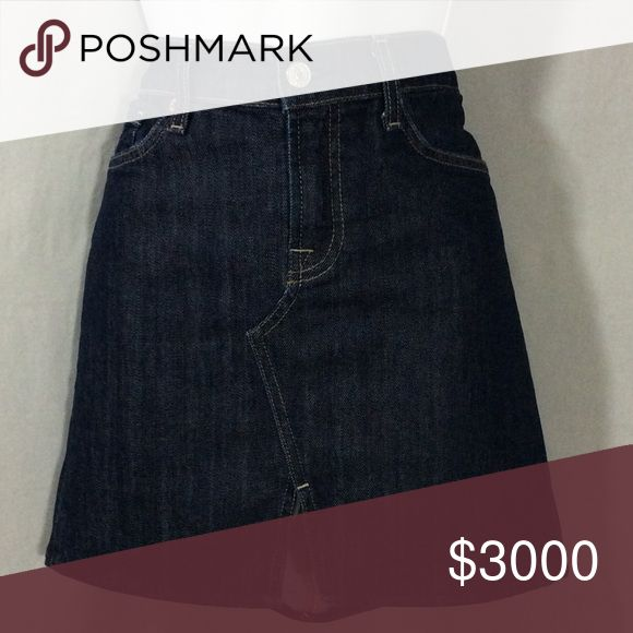 """NWOT  7 For All Mankind Denim Jean Skirt NWOT 7For All Mankind Roxy Slit Front Jean Mini Skirt in Dark Denim Wash. Five Pockets, 3 on front, 2 on back with the signature 7FAM Squiggle tonal embroidered detailing on pockets. Front Zipper Closure. Size 30 with Lay Flat Measurements of 17.5"""" Waist, 16.5 Length in front and 17.0"""" Length in back. It's 98% Cotton & 2% Lycra giving it some stretch! Super Excellent Condition! 7 For All Mankind Skirts"""