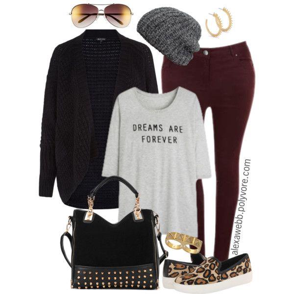 "#plus #size #outfit ""Plus Size - Oxblood Jeans"" by alexawebb on Polyvore @alexandrawebb"