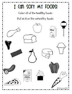 healthy eating kindergarten  worksheets | Happy & healthy eating, oh I mean teaching!