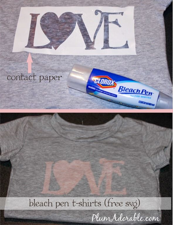 Bleach Pen 'love' T-shirts {Free SVG} | Plum Adorable: Tshirts, Contact Paper, Bleach Pen, Art, T Shirts, Diy, Craft Ideas, Bleach Shirt