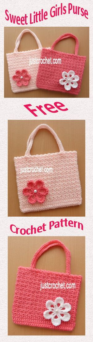 Free crochet pattern for sweet little girls purse. #crochet