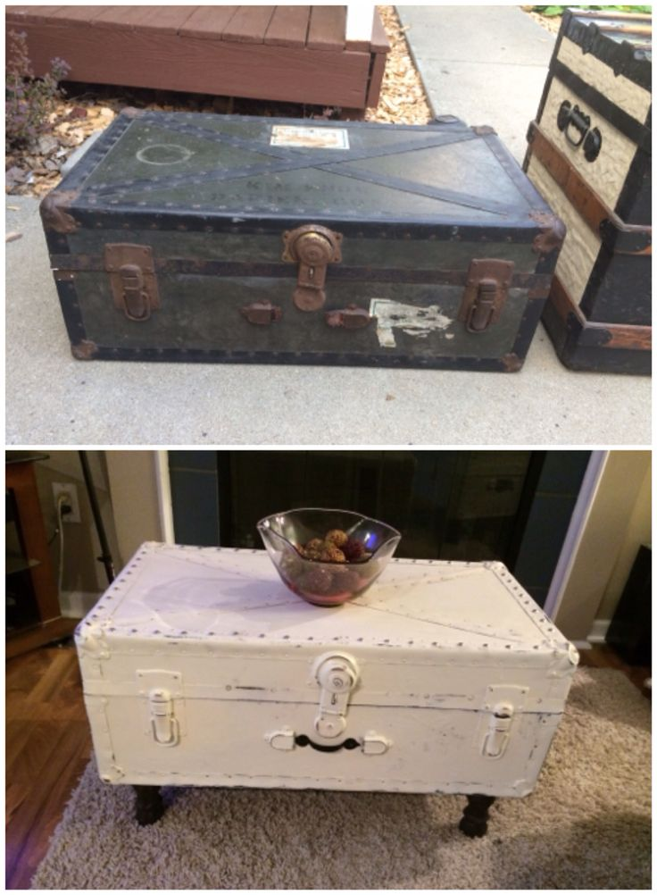 Vintage military trunk, repurposed into a coffee table