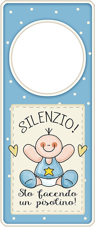 """appendi porta in legno blu """"Silenzio sto facendo un pisolino"""" idea regalo, artigianato italiano, made in Italy, con frase scritta, spiritosa, fuori stanza, appendi porta, fuori porta, tavola country: Amazon.it: Casa e cucina"""