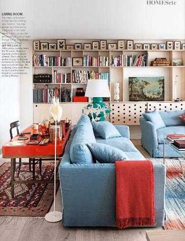 Desk behind sofa - Terence Conran apartment