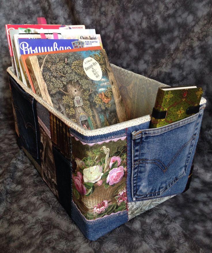 Тихая комната: Картонная коробка в обтяжке (чехле) из джинсовой ткани. Пэчворк и декупаж.