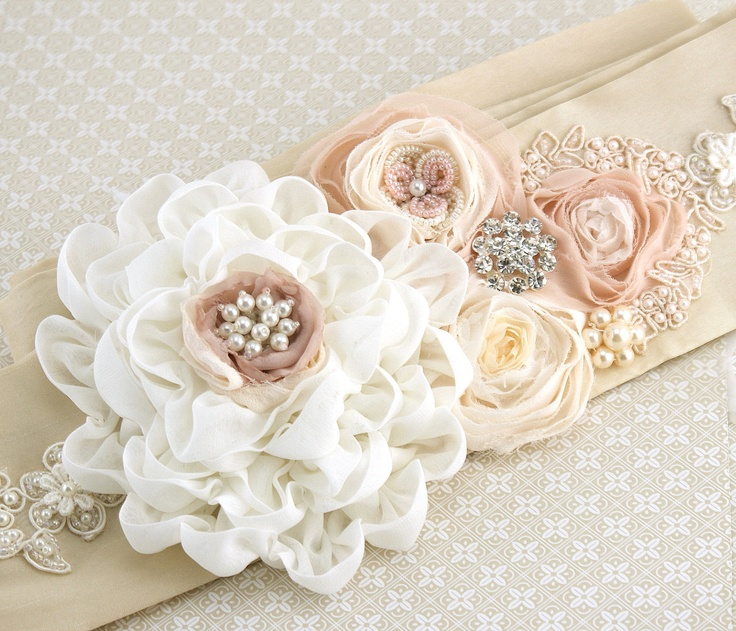 Bridal Sash in Ivory, Champagne, Cream and Blush Pink with Chiffon, Dupioni Silk, Pearls and Jewels- Pearl Dream. $240.00, via Etsy.