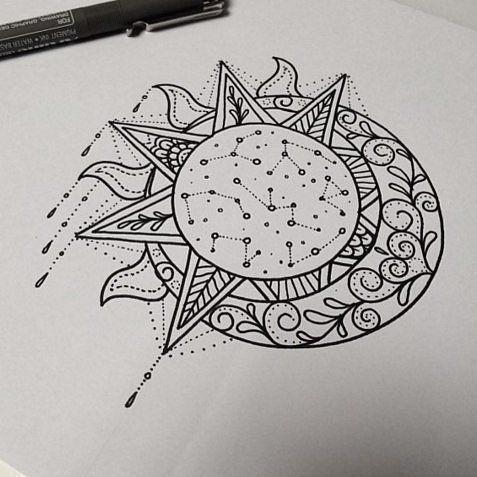 Znalezione obrazy dla zapytania sun moon mandala tattoo