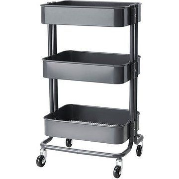 Rolling Organization Cart on Wheels Is Metal with 3 Deep Bins, Center Bin Is Adjustable Color: Grey (Gray)