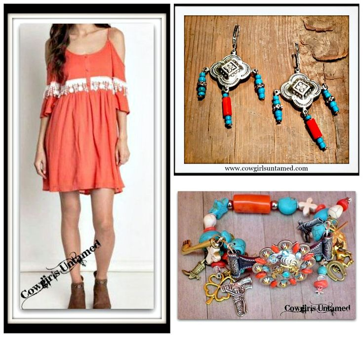 COWGIRL GYPSY DRESS Cream Lace on Coral Open Shoulder Boho Mini Dress/ Handmade Coral and Turquoise Silver Earrings and Western Bracelet  #dress #minidress #casual #coral #lace #white #coldshoulder #cutout #sexy #summer #earrings #silver #turquoise #handmade #bracelet #charm #western #concho #gun #horse #boot #womens #clothing #boutique #wholesale #beautiful #fashion #onlineshopping #style