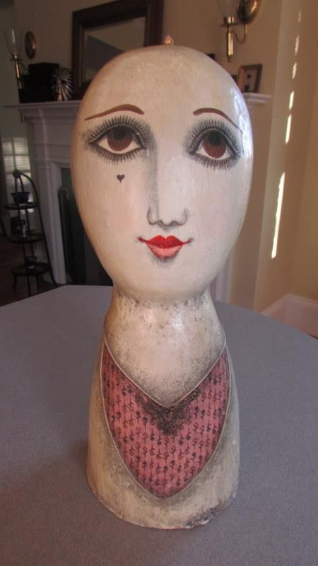 VINTAGE  PAPIER MACHE HEAD WIG/HATSTAND SIGNED GEMMA TACCOGNA  MEXICO