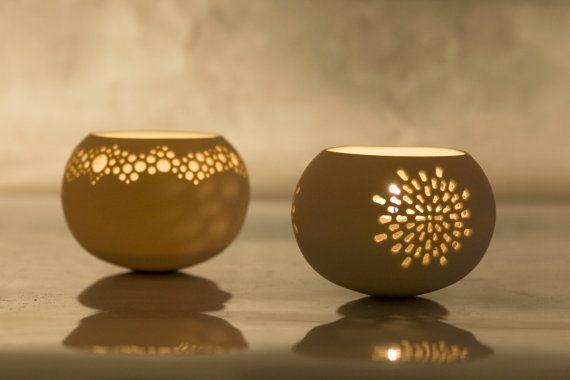 Portavelas de porcelana. Iluminación de cerámica por wapa en Etsy