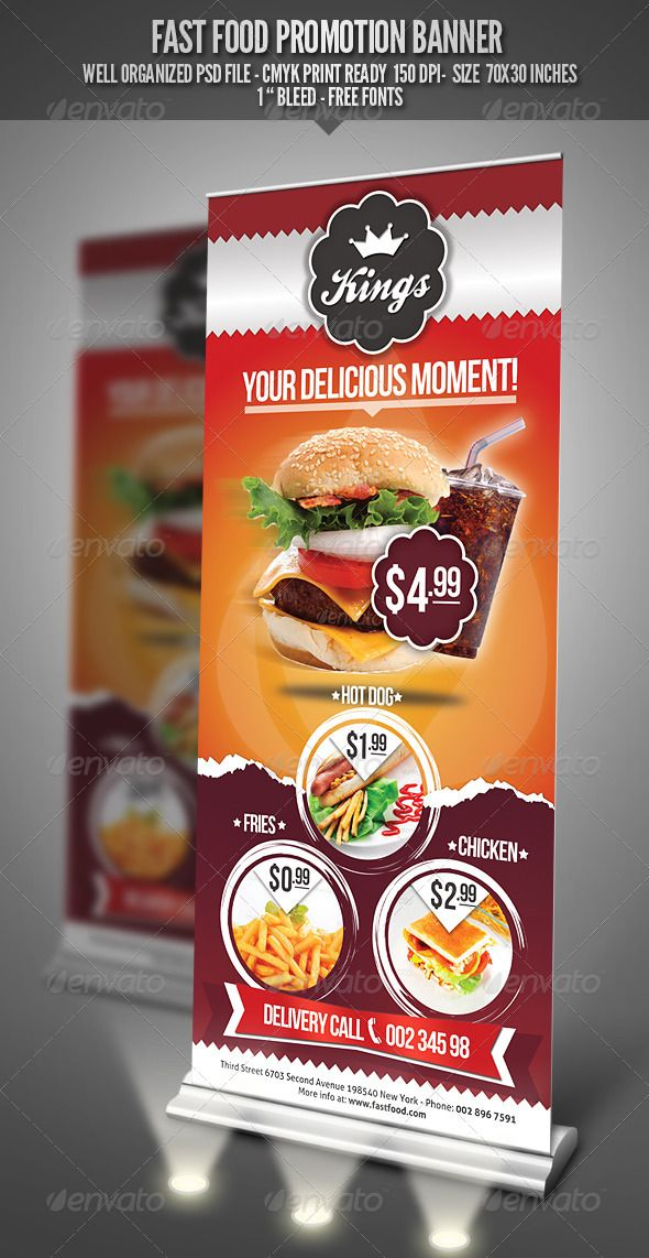 Fast Food Promotion Banner by punedesign FeaturesFully Editable Fully Layered PSD File Free Fonts Used / Bebas Neue/ Aller / Ballpark / Size: 7030 inches PSD 150 dpi, CMYK