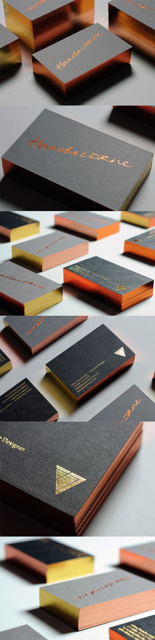 These beautiful metallic foil business cards have many subtle details that make them more than just a metal-on-black design.