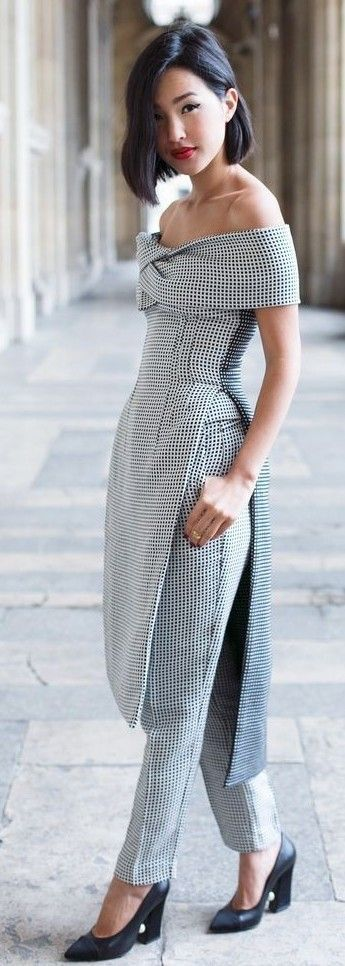 #spring #fashion | Black And White Gingham Sophisticated Taylor Off Shoulder Suit | Gary Pepper Girl