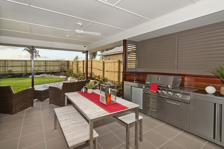 Outdoor undercover area. Outdoor living. Lifestyle. Outdoor furniture. BBQ. Outdoor kitchen. Unique.  G.J. Gardner Homes Australia.      * PIN * LIKE * SHARE *