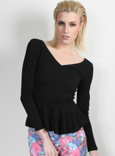 Angel Frilled Bodysuit #newarrivals #goshcelebrity #peplum #winter #black #model #fashion #style