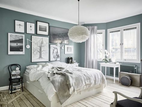 Grey Green Interior and Wooden Floors | Rustic bedroom interior design | Wooden floors, sage walls | SA Decor
