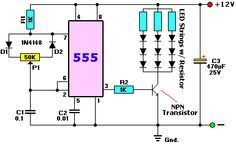 NE555 controlled PWM LED dimmer circuit