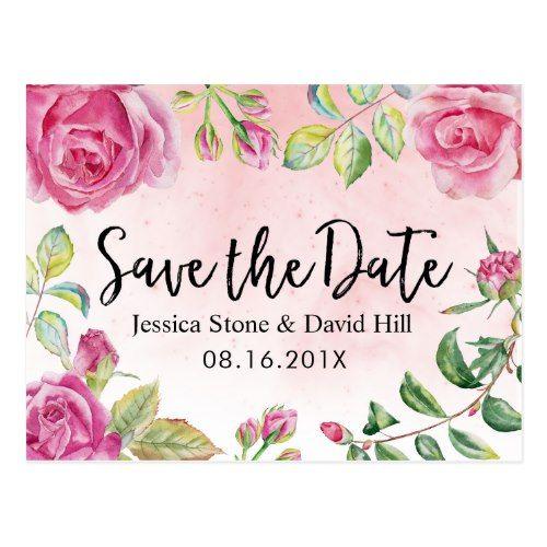 Vintage Watercolor Floral Wedding Save the Date Postcard