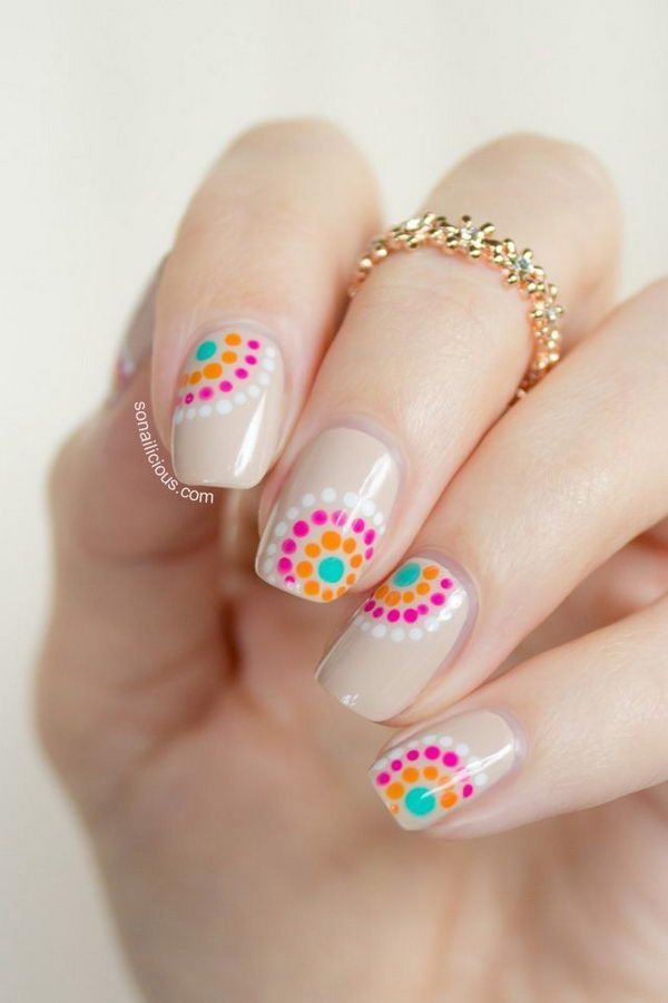 Neon polka dot nails on silver – 30 Adorable Polka Dots Nail Designs ♥ ♥