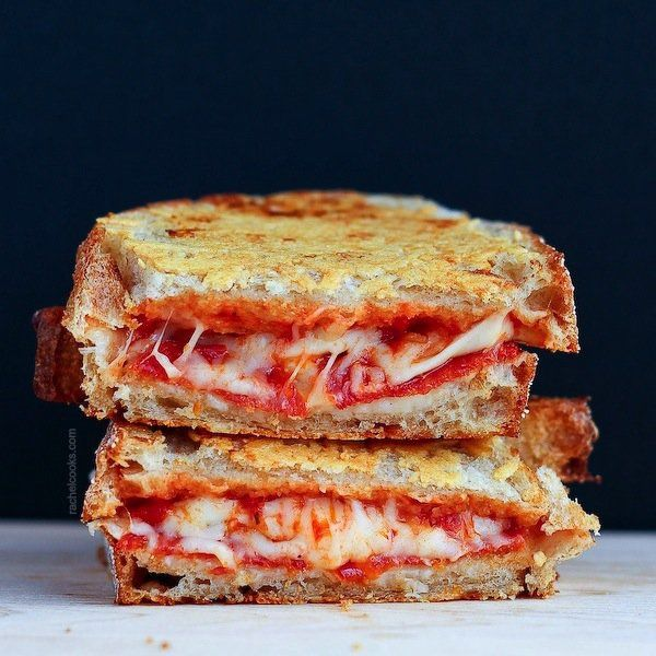 parmesan crusted pepperoni pizza grilled cheese