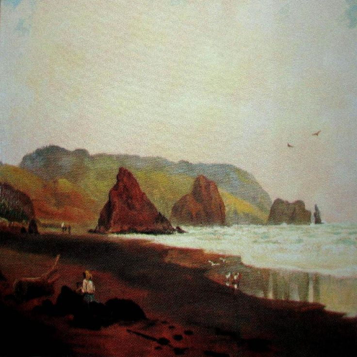 Piha Beach with Fellow Artist Seated in Foreground (Likely to Be the Artist's Daughter Bessie Kendon) painted by Charles Blomfield (1848–1926)