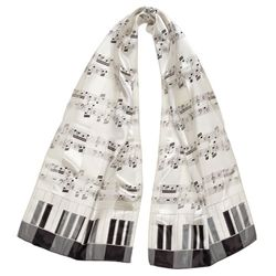 Cream Sheet Music & Keyboard Scarf