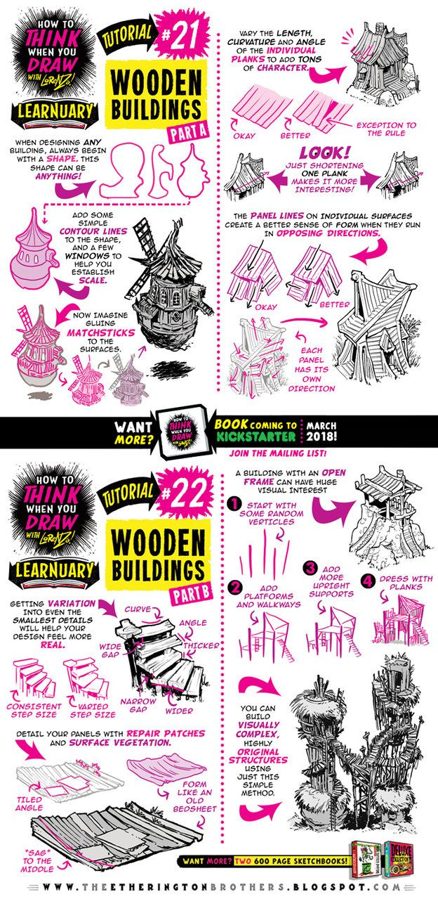 How to draw WOODEN HOUSES tutorial by STUDIOBLINKTWICE