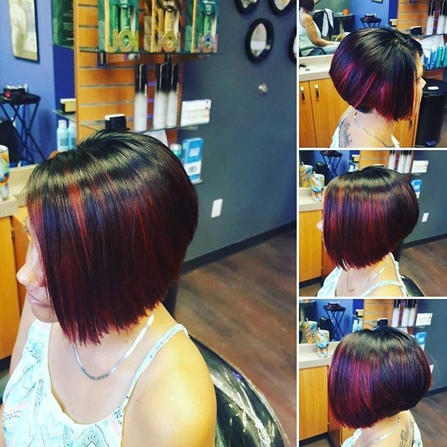 Dark Chocolate covered Cherry inspired hair color, on a stacked A-LINE Bob... #fayettevillear  #solasalonsnwa  #joico #joicointensity  #aquage