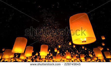 3d rendering Beautiful Lanterns flying in night sky