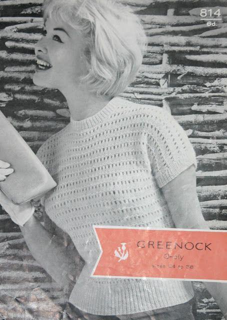 The Vintage Pattern Files: Free 1950's Knitting Pattern - Greenocks Cap Sleeved Sweater