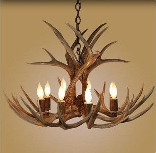 8 Light Large Mule Deer Antler Chandelier