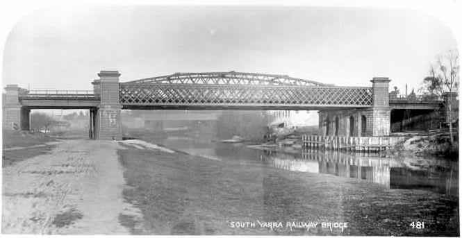 PH 8575. View of the South Yarra railway bridge, built in 1860 and replaced in the 1940s, 1893.