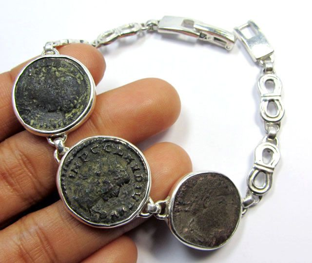 THREE  ANCIENT ROMAN COINS IN SILVER BRACELET  CO 1653 coin jewelry , coin pendant ,ancient coin bracelet